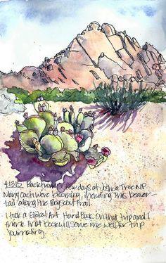 Joshua Tree NP in bloom Watercolor Sketchbook, Artist Sketchbook, Pen And Watercolor, Watercolor Landscape Paintings, Watercolor Trees, Landscape Art, Nature Sketch, Desert Art, Artist Journal