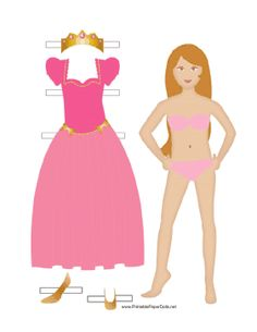 This princess paper doll comes with a pink dress, shoes and a crown. Free to download and print