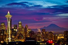 seahawks space needle | The Space Needle dressed for the holidays with Seattle & Mt. Rainier ...