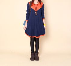 Double color Splice sweater dress knitwear by fashionwomanstore, $75.00