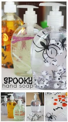 Halloween Soap Hand Sanitizer. Add some cute items, like spooky spiders, googly eyes...into the soap hand sanitizer for a little punch of Halloween decor.