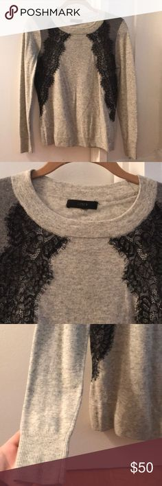 Spotted while shopping on Poshmark: J.Crew Grey Lace Scoop Neck Sweater Size Small! #poshmark #fashion #shopping #style #J. Crew #Sweaters