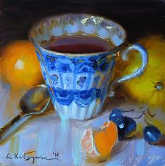 "Daily Paintworks - ""Blue Cup and Citrus"" - Original Fine Art for Sale - © Elena Katsyura"
