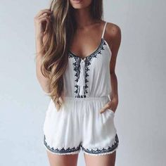 White Spaghetti Strap Embroidered Jumpsuit-SheIn