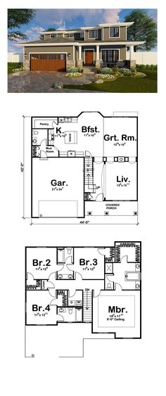 New House Plan 41180 | Total Living Area: 2554 sq. ft., 4 bedrooms and 3.5 bathrooms. #newhouseplan