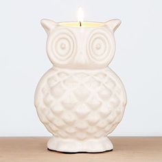 White Ceramic Owl Candle from World Market