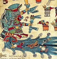 Chalchiuhtlicue ( The one with an emerald skirt) Godess of rivers and lakes. Codex Borbonicus