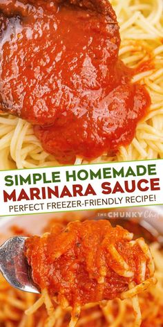 This recipe for Homemade Marinara Sauce is ready in about 30 minutes, uses simple ingredients, and is freezer friendly. So much better than anything from a jar, it's perfect on pasta, as a dipping sauce, and more! #marinara #italian #homemade #pastasauce Yummy Pasta Recipes, Delicious Dinner Recipes, Sauce Recipes, Lunch Recipes, Vegetarian Recipes, Jam Recipes, Noodle Recipes, Seafood Recipes, Recipies