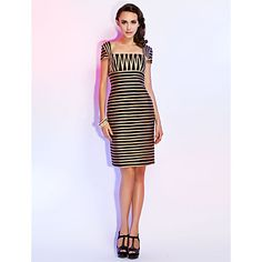 Sheath/Column+Square+Short+Sleeve+Knee-length+Cocktail+Dress+–+EUR+€+148.49