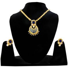 Indian Designer Party wear Artificial Gold Pendent Style Necklace set jewellery  #Handmade