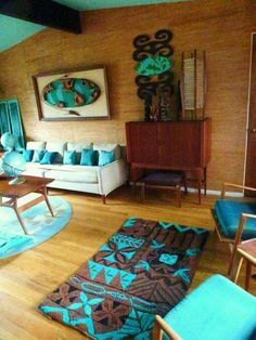 Tiki Midcentury Modern living room by Dawn Frasier