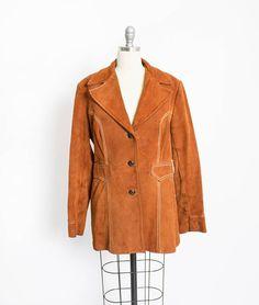 Vintage 1970s Coat  Rusty Brown Leavy Suede Leather Pioneer
