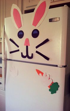 Bunny fridge decoration - construction paper,  kindergarten crafts