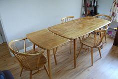 Fantastic Ercol Table and Chairs with original Extension