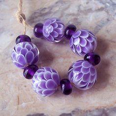 Violet Chrysanthemum Handmade Lampwork Bead by NataliaKorolyuk