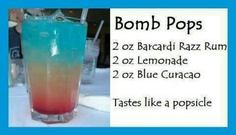 Rum get together bomb pops alcohol diy ingredients drink recipes diy drinks Party Drinks, Cocktail Drinks, Fun Drinks, Alcoholic Drinks, Cocktail Recipes, Liquor Drinks, Fruity Drinks, Refreshing Drinks, Beach Cocktails