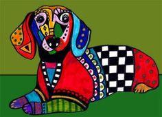 Dachshund Art  Dog Print  Miniature Dachshund by HeatherGallerArt, $24.00
