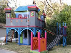 Barbara Butler-Used Castle Ramparts-Extraordinary Play Structures for Kids Play Structures For Kids, Outdoor Play Structures, Backyard Fort, Backyard For Kids, Backyard Treehouse, Backyard Ideas, Playhouse Plans, Playhouse Outdoor, Childrens Playhouse