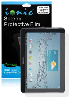 Ionic Screen Protector Film Matte Clear (Anti-Glare Anti-Fingerprint) for Samsung Galaxy Tab 2 10.1 (3-pack)[Lifetime Repl...