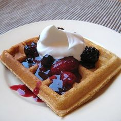 Whole wheat waffles and triple berry topping