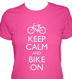 Bike Shirt - Bicycle - Keep Calm and Bike On T Shirt - 4 Colors Available - Womens Cotton Shirt - S, M, L, XL - Gift Friendly. $22.50, via Etsy.