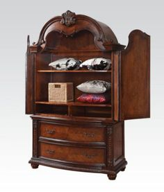 Acme Furniture   Nathaneal Wood TV Armoire In Tobacco   22317