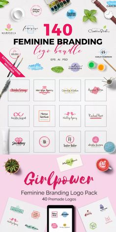 Introducing the 140 Feminine Branding Logo Bundle to different types of professionals for their personal or commercial branding. #AffiliateLink