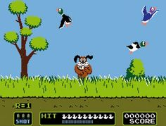 Duck Hunt! I remember trying to shoot that darn dog. lol i now have this on my smart phone, sad :/ lmao