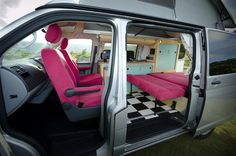 Campervan Conversion Interior with bed down www.cambee.co.uk