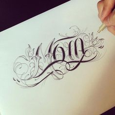 """Hand Type Vol. 3 by Raul Alejandro — I've always thought """"Mom"""" tattoos were a little cliché, but this is very tasteful. Chicano Lettering, Tattoo Lettering Fonts, Tattoo Script, Lettering Design, Calligraphy Logo, Lettering Tutorial, Lettering Styles, Typography Sketch, Typography Served"""
