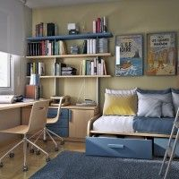 Kids Room. Inspiring Small Space Child Room Design With Blue And Natural Wood Accents Smart Space Saving Furniture Mounted Study Desk And Wall Shelves Plus Loft Bed With Built-in Storage. Child Room Interior Design Ideas