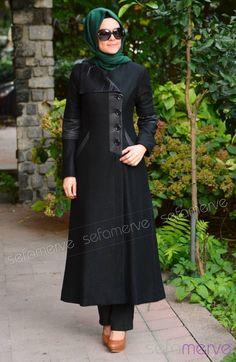 Şükran Pardesü Kap 35553-03 Siyah Muslim Women Fashion, Islamic Fashion, Muslim Dress, Hijab Dress, Modest Wear, Modest Outfits, Street Hijab Fashion, Corporate Wear, Casual Hijab Outfit