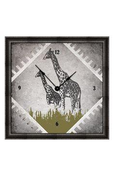 Green Leaf Art 'Vintage Giraffes I' Clock