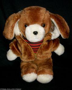"12"" VINTAGE AVON PRODUCTS BROWN PUPPY DOG STUFFED ANIMAL PLUSH TOY KOREA JACKET #Avon"