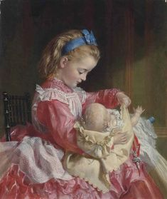 Artwork by Kate Perugini, Maternal instincts, Made of oil on canvas Classic Paintings, Old Paintings, Paintings I Love, Beautiful Paintings, Victorian Paintings, Victorian Art, Charles Edward, Sophie Anderson, Baby Portraits