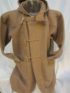 VINTAGE 70s Wool Pea Coat M Naval Navy Reefer Jacket Dark Blue ...