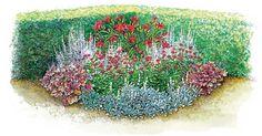 Die Wirkung eines Staudenbeets ist keineswegs eine Frage der Größe. Auch auf kleiner Fläche können  Sie Staudenkombinationen pflanzen, die für viele Wochen den Garten verzaubern. Schon drei oder vier verschiedene  Stauden-Arten reichen aus, um eine kleine harmonische Beetsituation zu bilden – sehen Sie selbst!