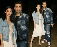 Alia Bhatt and Karan Johar twin in denim as they attend a birthday bash with Shahid, Kriti, Anushka - view HQ pics Celebrity Couples, Celebrity Style, Karan Johar, New Gossip, Anushka Sharma, Alia Bhatt, Bollywood Stars, Cute Dolls, Indian Wear