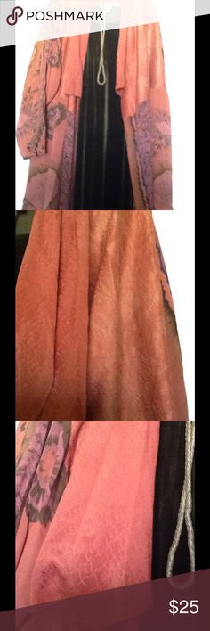 VINTAGE SILK WRAP Great boho vintage pure silk beautiful coral and green color. Vintage Jackets & Coats Capes