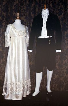 Costumes worn by Colin Firth (Mr. Darcy) and Jennifer Ehle (Elizabeth Bennet) in the 1995 BBC miniseries Pride and Prejudice.