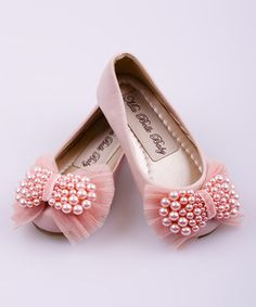 Another great find on #zulily! Mia Belle Baby Pink Pearl Bow Ballet Flat by Mia Belle Baby #zulilyfinds