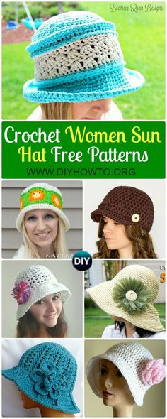 Collection of Crochet Women Sun Hat Free Patterns: #Crochet adult brimmed Sun hat, ladies Summer hat, Flower Hat, Floppy hat, Cloche Hat via @diyhowto