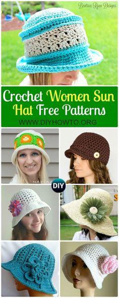 Collection of Crochet Women Sun Hat Free Patterns: Crochet adult brimmed Sun hat, ladies Summer hat, Flower Hat, Floppy hat, Cloche Hat via @diyhowto