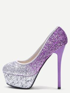 Silver and Purple Sequin Platform Stiletto Pumps