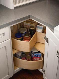 Kitchen cabinet lazy-susan Kitchen Cabinet Colors, Kitchen Corner Cupboard, Cheap Kitchen Cabinets, Kitchen Tips, Farmhouse Kitchen Cabinets, Kitchen Ideas, Kitchen Updates, Storage Shelving, Cabinet Storage