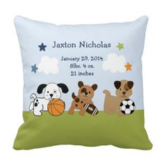 50% Off ALL Pillows - TODAY ONLY! Use Code: PERFECTZGIFT  at checkout  Personalized Bow Wow/Sports Puppy Pillow Keepsake
