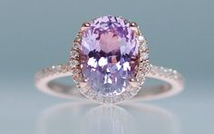 Purple sapphire ring rose gold 14k engagement ring 3.06ct oval sapphire lavender peach