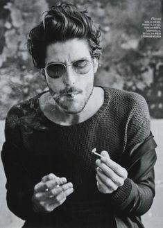 male: KULT Model Agency - Johan Johansson for. Louis Garrel, Portrait Male, Jon Kortajarena, Photography Poses For Men, Smoke Photography, Man Smoking, Model Agency, Bearded Men, Male Models