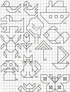 """May: Math """"May""""hem ~ Spring Math Printables Color By Codes Graph Paper Drawings, Graph Paper Art, Easy Drawings, Blackwork Patterns, Blackwork Embroidery, Cross Stitch Patterns, Drawing For Kids, Art For Kids, Doodle Art"""