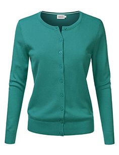 NINEXIS Womens Basic V-Neck  Crew Neck Long Sleeve Button Down Cardigan (S-3X) * See this great product.